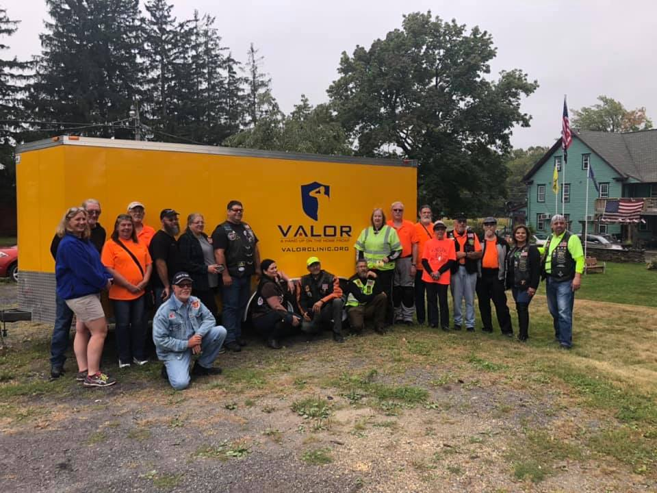 Gold Wing Road Riders Association Group Photo In Front of Valor Trailer and Paul's House